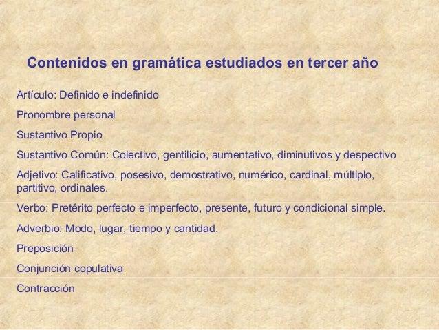Contenidos en gramática estudiados en tercer año Artículo: Definido e indefinido Pronombre personal Sustantivo Propio Sust...