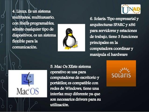 4. Linux: Es un sistema  multitarea, multiusuario,  con Shells programables,  admite cualquier tipo de  dispositivos, es u...