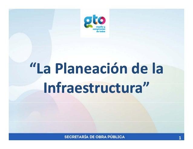"""""""L Pl ió d l""""L Pl ió d l""""LaPlaneacióndela""""LaPlaneacióndela I f t t """"I f t t """"Infraestructura""""Infraestructura"""" 1"""