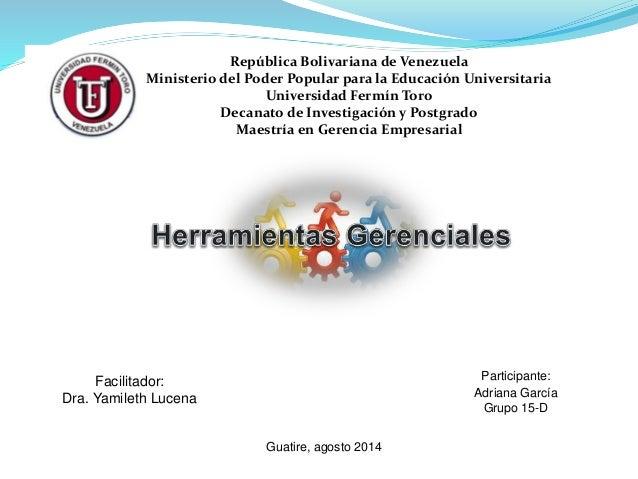 República Bolivariana de Venezuela Ministerio del Poder Popular para la Educación Universitaria Universidad Fermín Toro De...
