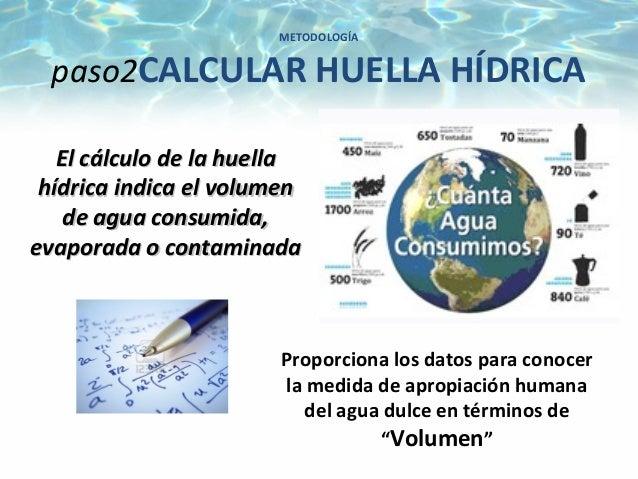 METODOLOGÍApaso2CALCULAR HUELLA HÍDRICAProporciona los datos para conocerla medida de apropiación humanadel agua dulce en ...
