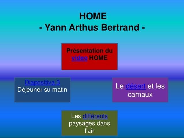 HOME - Yann Arthus Bertrand Présentation du video HOME  Diapositiva 3 Déjeuner su matin  Le désert et les camaux Les diffé...
