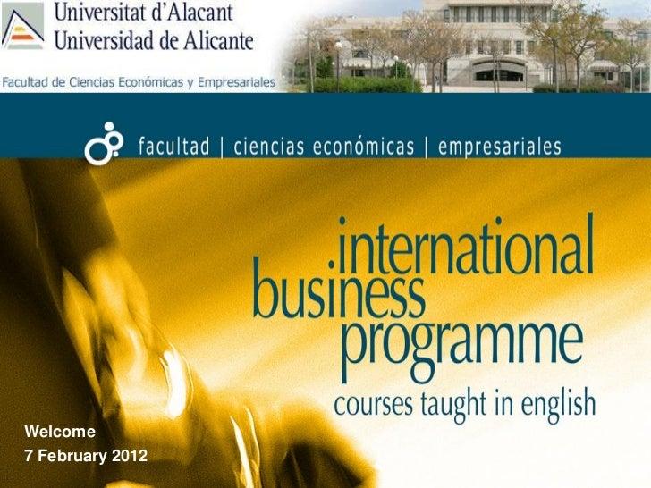 Welcome7 February 2012