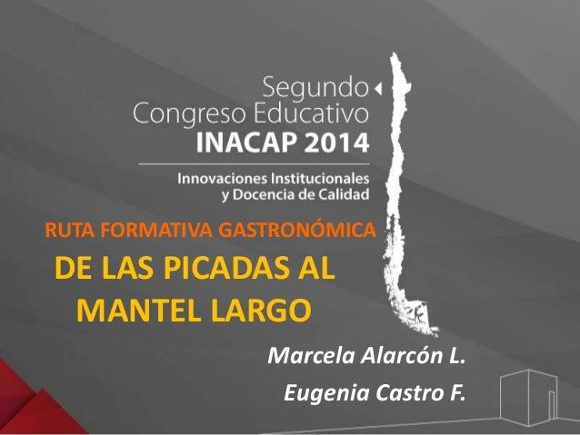 RUTA FORMATIVA GASTRONÓMICA  DE LAS PICADAS AL  MANTEL LARGO  Marcela Alarcón L.  Eugenia Castro F.