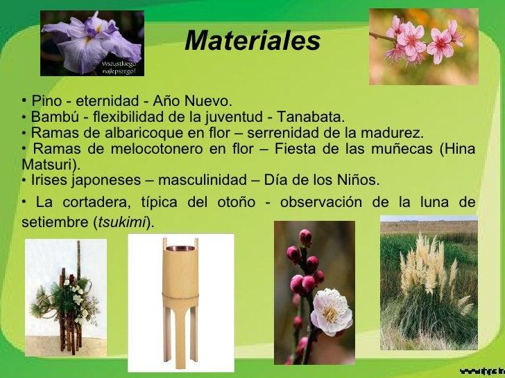 <ul><li>Pino - eternidad - Año Nuevo. </li></ul><ul><li>Bambú - flexibilidad de la juventud - Tanabata. </li></ul><ul><li>...
