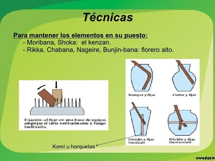 Técnicas Para mantener los elementos en su puesto: - Moribana, Shoka:  el kenzan. - Rikka, Chabana, Nageire, Bunjin-bana: ...
