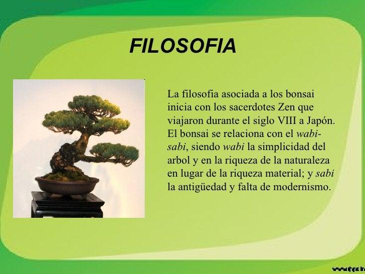 FILOSOFIA La filosofia asociada a los bonsai inicia con los sacerdotes Zen que viajaron durante el siglo VIII a Japón. El ...