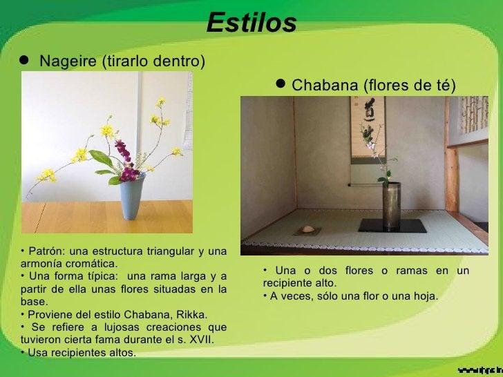 Estilos <ul><li>Chabana (flores de té) </li></ul><ul><li>Nageire (tirarlo dentro) </li></ul><ul><li>Patrón: una estructura...