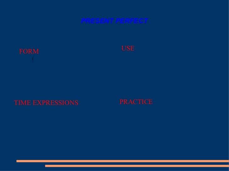 PRESENT PERFECT <ul><li>FORM </li></ul><ul><li>USE </li></ul><ul><li>PRACTICE </li></ul><ul><li>TIME EXPRESSIONS </li></ul>