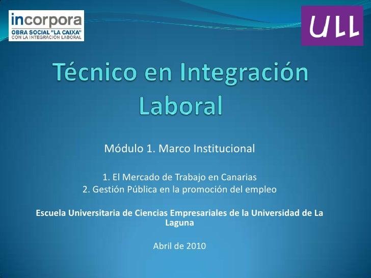 Técnico en Integración Laboral<br />Módulo 1. Marco Institucional<br />1. El Mercado de Trabajo en Canarias<br />2. Gestió...