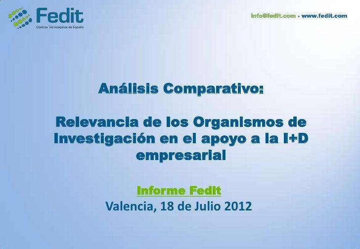 Análisis Comparativo:Relevancia de los Organismos deInvestigación en el apoyo a la I+D           empresarial           Inf...