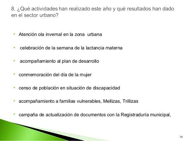    Atención ola invernal en la zona urbana   celebración de la semana de la lactancia materna   acompañamiento al plan ...