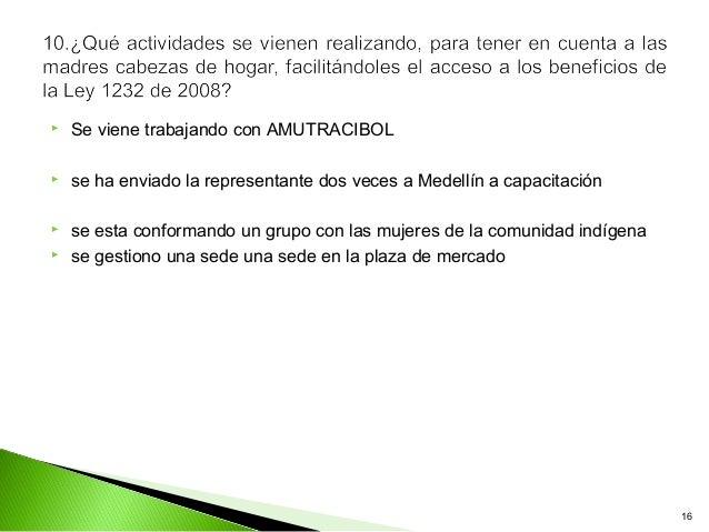    Se viene trabajando con AMUTRACIBOL   se ha enviado la representante dos veces a Medellín a capacitación   se esta c...