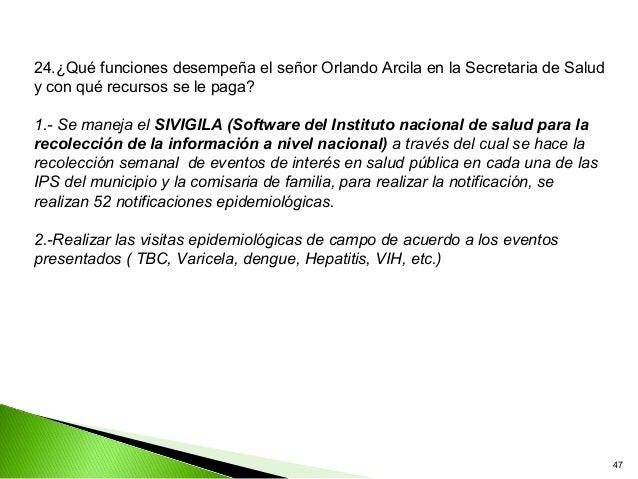 24.¿Qué funciones desempeña el señor Orlando Arcila en la Secretaria de Saludy con qué recursos se le paga?1.- Se maneja e...