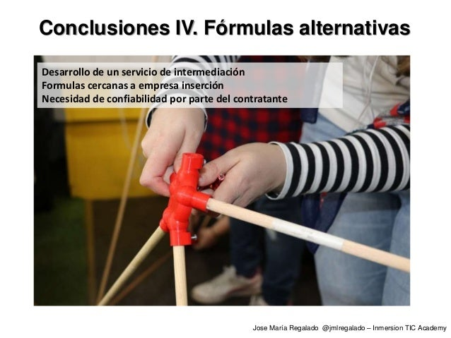Conclusiones IV. Fórmulas alternativas Desarrollo de un servicio de intermediación Formulas cercanas a empresa inserción N...