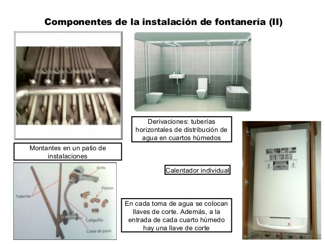 Componentes de la instalación de fontanería (II) Montantes en un patio de instalaciones Derivaciones: tuberías horizontale...
