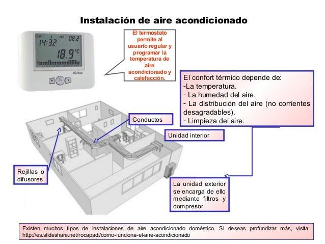 Instalación de aire acondicionado El confort térmico depende de: -La temperatura. - La humedad del aire. - La distribución...