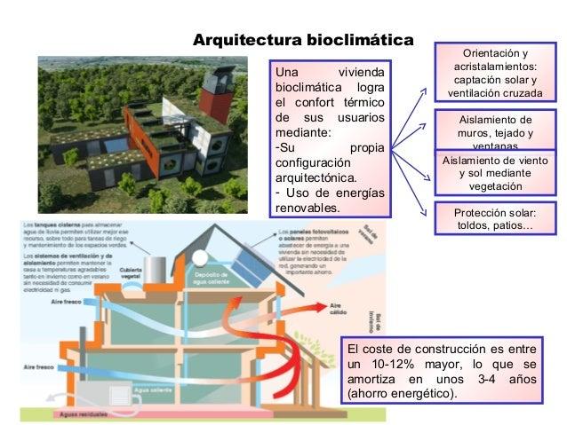 Arquitectura bioclimática Una vivienda bioclimática logra el confort térmico de sus usuarios mediante: -Su propia configur...
