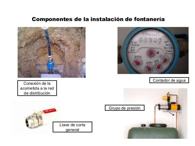 Componentes de la instalación de fontanería Conexión de la acometida a la red de distribución Contador de agua Llave de co...