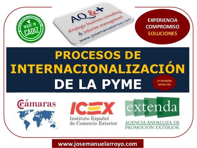 PROCESOS DE INTERNACIONALIZACIÓN DE LA PYME www.josemanuelarroyo.com EXPERIENCIA COMPROMISO SOLUCIONES