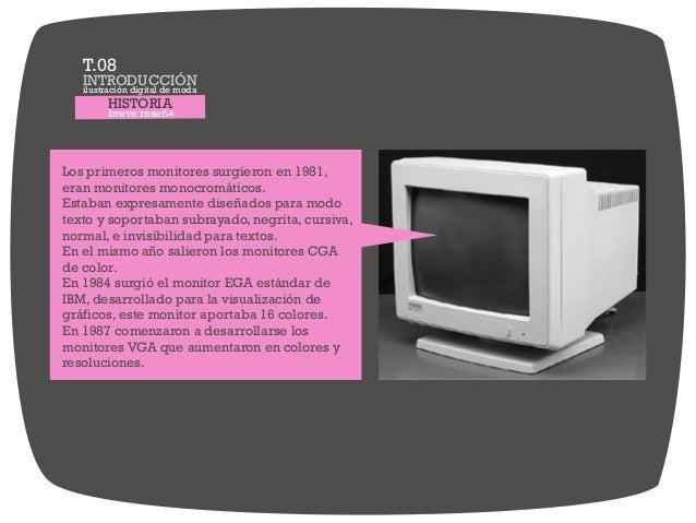 HISTORIA breve reseña Los primeros monitores surgieron en 1981, eran monitores monocromáticos. Estaban expresamente diseña...