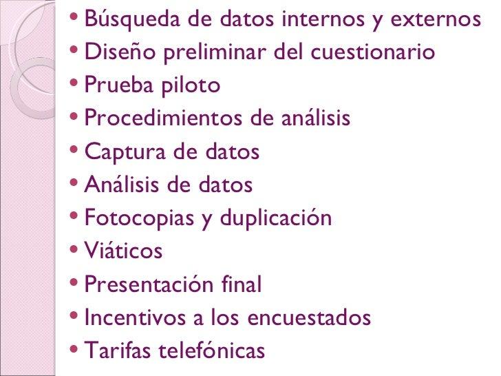 <ul><li>Búsqueda de datos internos y externos </li></ul><ul><li>Diseño preliminar del cuestionario </li></ul><ul><li>Prueb...