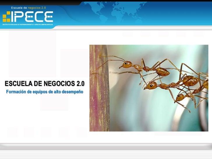 ESCUELA DE NEGOCIOS 2.0Formación de equipos de alto desempeño