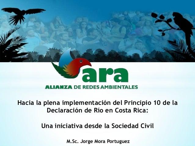 Hacia la plena implementación del Principio 10 de la  Declaración de Río en Costa Rica:  Una iniciativa desde la Sociedad ...