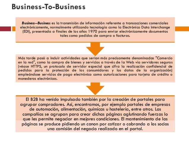 Business-To-Business   Business--Business es la transmisión de información referente a transacciones comerciales  electrón...