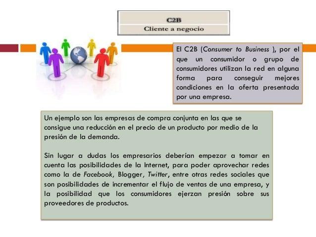 El C2B (Consumer to Business ), por el                                        que un consumidor o grupo de                ...
