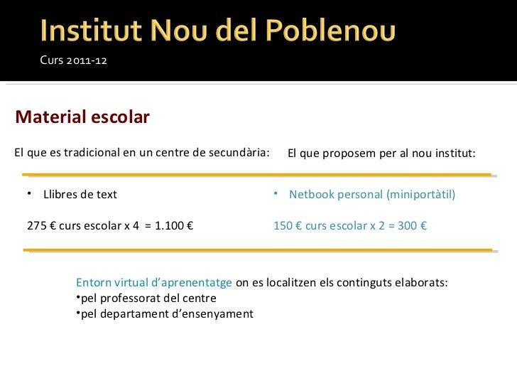 Curs 2011-12 Material escolar <ul><li>Llibres de text </li></ul><ul><li>275 € curs escolar x 4  = 1.100 €  </li></ul><ul><...