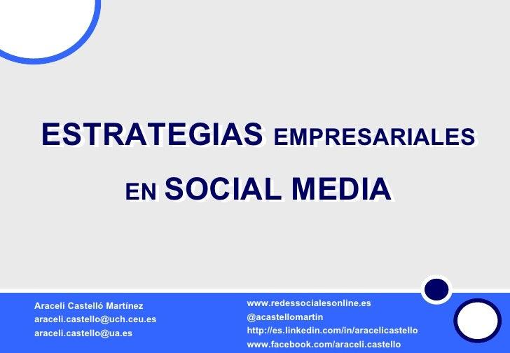 ESTRATEGIAS  EMPRESARIALES EN  SOCIAL MEDIA La Web 2.0: oportunidades para tu carrera profesional ESTRATEGIAS  EMPRESARIAL...