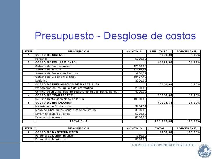 Planeaci n de proyectos en telecomunicaciones rurales for Ejemplo de presupuesto instalacion geotermica chalet