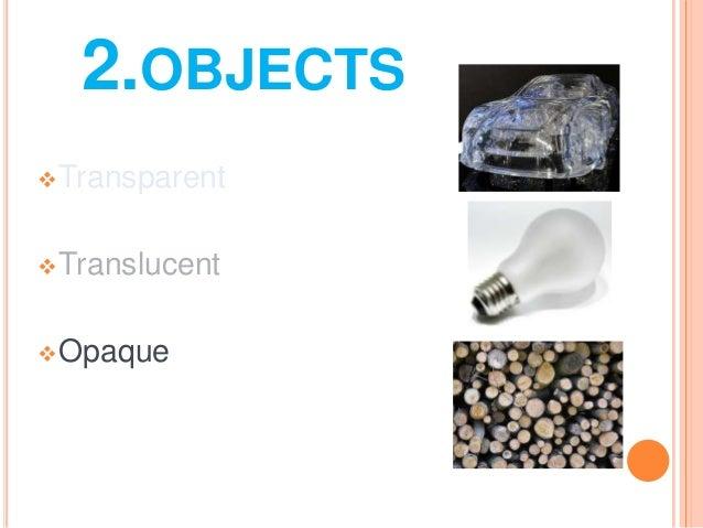 2.OBJECTSTransparentTranslucentOpaque