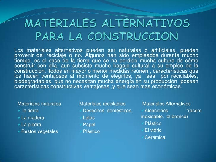 Materiales alternativos para la construccion - Tipos de materiales de construccion ...