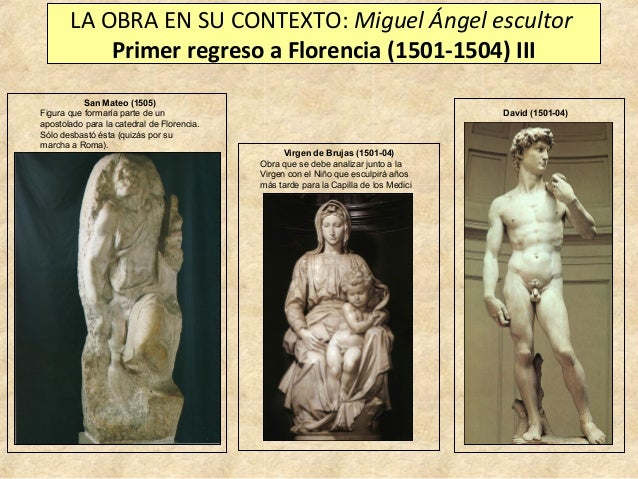 LA OBRA EN SU CONTEXTO: Miguel Ángel escultor Primer regreso a Florencia (1501-1504) III San Mateo (1505) Figura que forma...