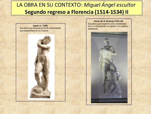 LA OBRA EN SU CONTEXTO: Miguel Ángel escultor Segundo regreso a Florencia (1514-1534) II Apolo (c. 1530) Escultura que ant...