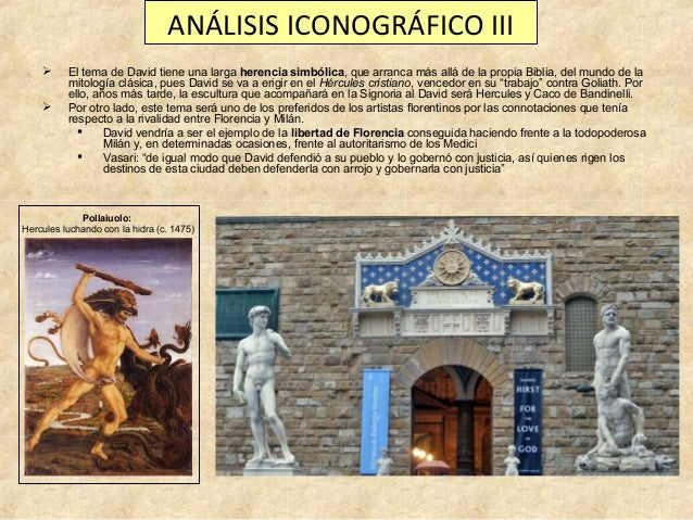 ANÁLISIS ICONOGRÁFICO III    El tema de David tiene una larga herencia simbólica, que arranca más allá de la propia Bibl...