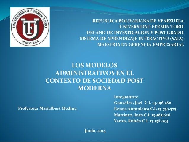 REPUBLICA BOLIVARIANA DE VENEZUELA UNIVERSIDAD FERMIN TORO DECANO DE INVESTIGACION Y POST GRADO SISTEMA DE APRENDIZAJE INT...