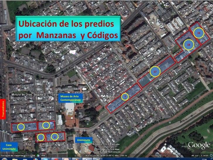 1 2 3 4 5 17 18 19 Museo de Arte  Contemporáneo Uniminuto Transmilenio Casa  Uniminuto Ubicación de los predios  por  Manz...