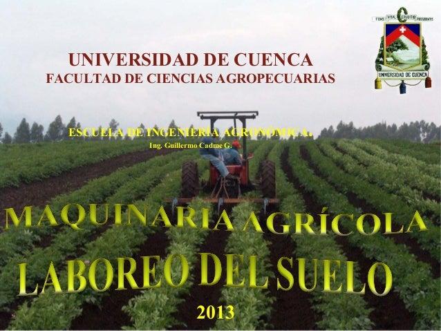 UNIVERSIDAD DE CUENCA FACULTAD DE CIENCIAS AGROPECUARIAS ESCUELA DE INGENIERÍA AGRONÓMICA. Ing. Guillermo Cadme G. 2013