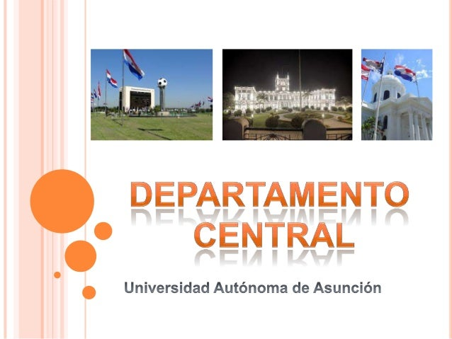 o Presentación del Departamento Central. o Ubicación. o Actividades resaltantes. o Sitios turísticos. o Contacto. o Autor.
