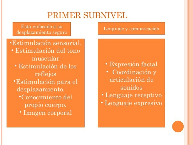 PRIMER SUBNIVEL  Está enfocado a su  desplazamiento seguro  •Estimulación sensorial.  • Estimulación del tono  muscular  •...