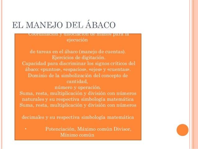 Conocimiento e identificación de las partes del ábaco  EL MANEJO DEL ÁBACO  vertical.  Coordinación y disociación de manos...