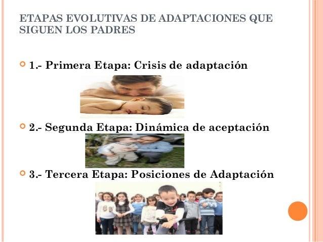 ETAPAS EVOLUTIVAS DE ADAPTACIONES QUE  SIGUEN LOS PADRES   1.- Primera Etapa: Crisis de adaptación   2.- Segunda Etapa: ...