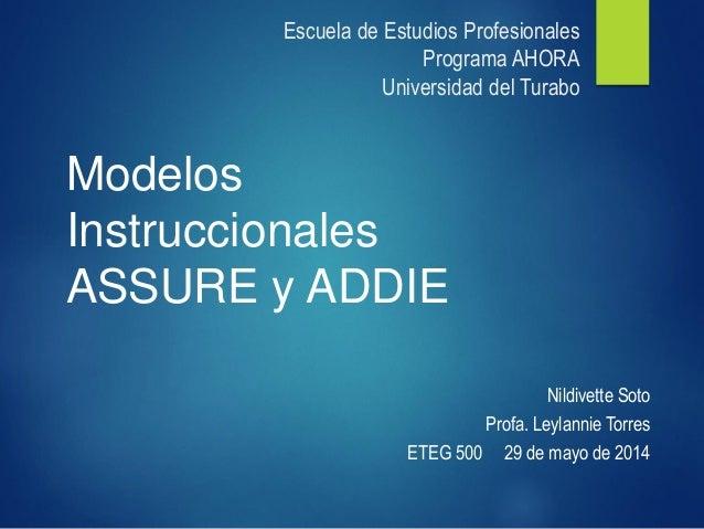 Escuela de Estudios ProfesionalesPrograma AHORAUniversidad del Turabo  Nildivette Soto  Profa. LeylannieTorres  ETEG 500 2...