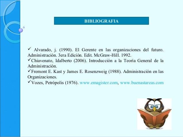 BIBLIOGRAFIA  Alvarado, j. (1990). El Gerente en las organizaciones del futuro. Administración. 3era Edición. Edit. McGra...