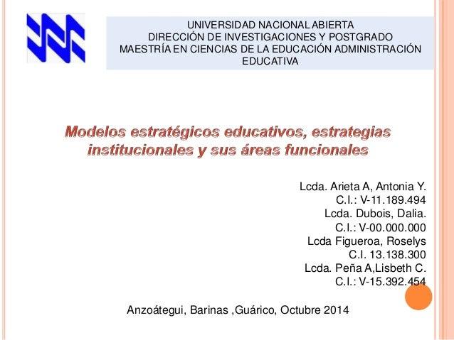 UNIVERSIDAD NACIONAL ABIERTA  DIRECCIÓN DE INVESTIGACIONES Y POSTGRADO  MAESTRÍA EN CIENCIAS DE LA EDUCACIÓN ADMINISTRACIÓ...