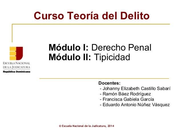 Curso Teoría del Delito  Módulo I: Derecho Penal  Módulo II: Tipicidad  Docentes:  - Johanny Elizabeth Castillo Sabarí  - ...