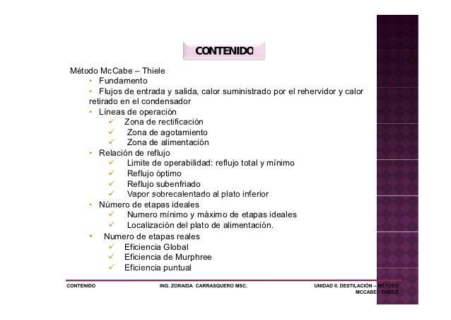 CONTENIDOMétodo McCabe – Thiele    • Fundamento    • Flujos de entrada y salida, calor suministrado por el rehervidor y ca...